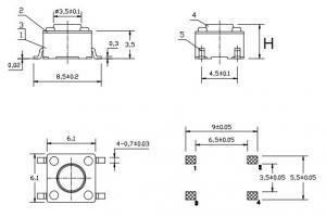 Кнопка 6х6х12мм  (50)