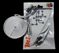 "USB Кабель ""Mi-Digit"" micro USB плоский белый"