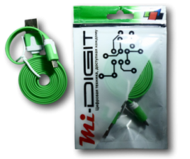 "USB Кабель ""Mi-Digit"" micro USB плоский зеленый"