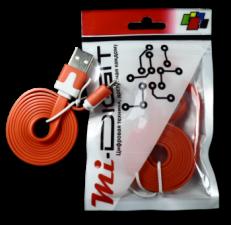 """USB Кабель """"Mi-Digit"""" micro USB плоский красный"""