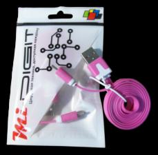 "USB Кабель ""Mi-Digit"" micro USB плоский розовый"