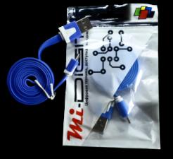 "USB Кабель ""Mi-Digit"" micro USB плоский синий"