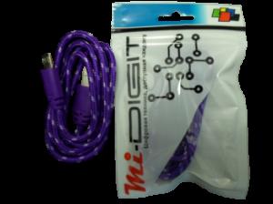 """USB Кабель """"Mi-Digit"""" Micro USB в нейлоновой оплетке Сиреневый"""