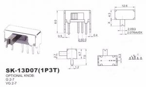 Переключатель SK13D07 (1P3T) угловой