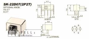 Переключатель SK22D07 (2P2T) угловой